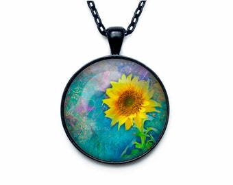Sunflower pendant Sunflower necklace Sunflower jewelry flower necklace