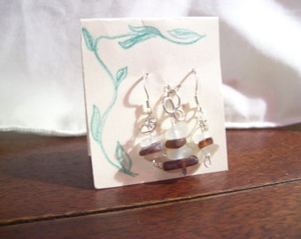 Sea Glass/Lakeglass and silver earring pendant set.
