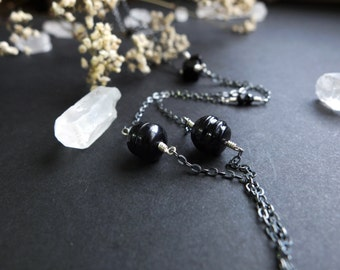 Isa necklace - long asymmetrical necklace with black baroque pearls, glass beads, spinel rondelles on sterling silver chain with dark patina