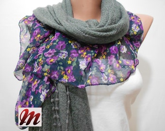 VALENTINES Day Gift Scarf Floral Gray Scarf Shawl Cowl Scarf with Violet Purple Flower Prints Women Winter Fashion Accessories Mothers Day G