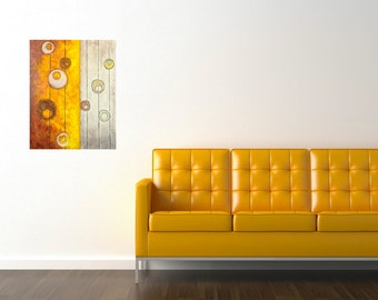 yellow circles abstract painting midcentury modern original art acrylic painting