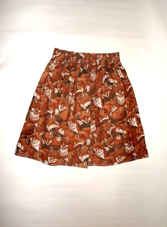 All over red fox print pleated high waisted retro skirt