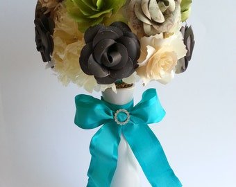MADE TO ORDER Paper Flower Centerpiece - Brown & Green
