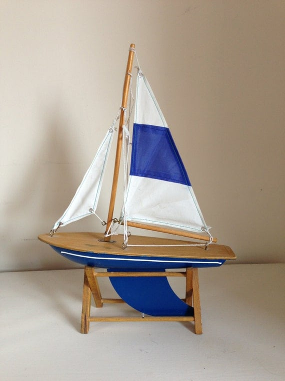 Vintage wooden sail boat toy yacht with stand child's bedroom seaside cottage desk Father's Day gift