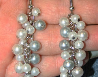 Beautiful Silver and Pearl Cluster Dangle Earrings