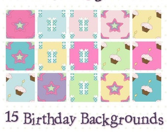 Birthday Backgrounds 1 - Digital Scrapbook Clipart Graphics Backgrounds