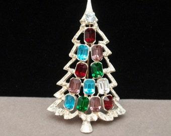 Christmas Tree Pin Vintage Multi Colored Rhinestones