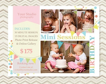 Birthday Mini Session - Photography Marketing Template 005 - C017, INSTANT DOWNLOAD