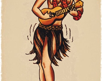 11 x 17 japanese sexy pin up girl in purple front sailor jerry for Sailor jerry pin up tattoos