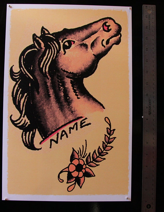 11 x 17 stallion head horse right facing vintage sailor for Horse tattoo traditional