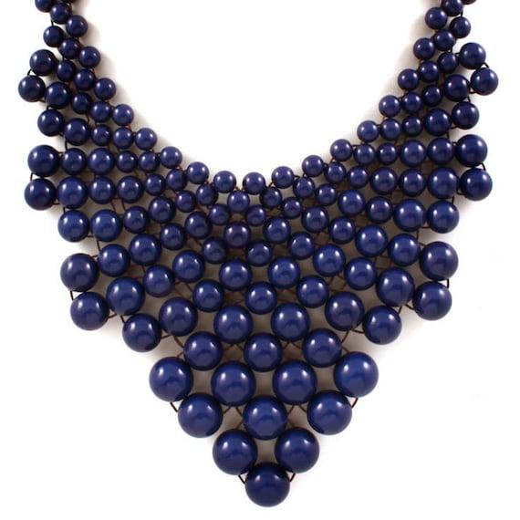 Large Bib Statement Necklace Navy Blue 24inch