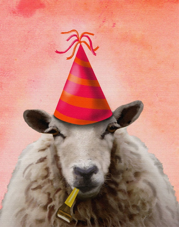 Party Sheep 14x11 Art Print Acrylic Painting Mixed Media Poster Wall Decor Wall hanging Wall Art Animal Painting