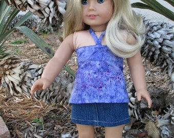 18 Inch Doll Clothes, Purple Batik Doll Halter Top, Girl Doll Clothes sized to fit dolls such as American Girl dolls