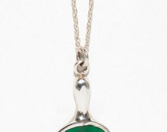Green Malachite Pendant Necklace