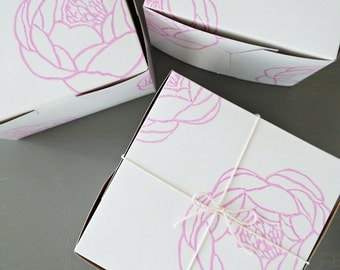 Pink Peony Block Printed Gift & Favor Boxes // Discount For Bulk Orders // Charitable Donation