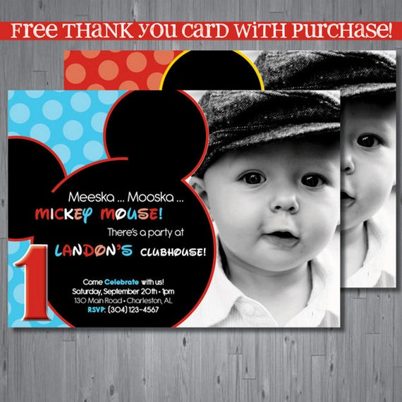mickey mouse birthday invitation first birthday by abbyreesedesign