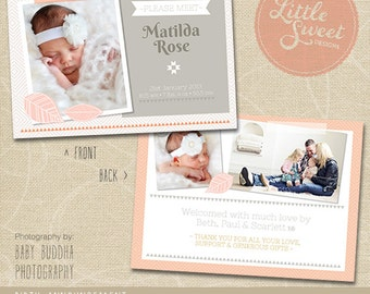 5x7 Birth Announcement Template (Baby Announcement) - Photoshop Template for photographers (BA4G) - INSTANT DOWNLOAD