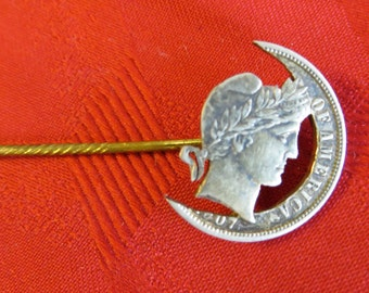 Vintage 1907 Barber Dime Crescent Moon Stick Pin - Free Shipping