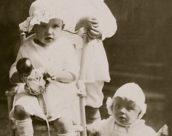 Vintage 1910's Three Babies in 3 Years Real Photo Postcard Photograph - Free Shipping