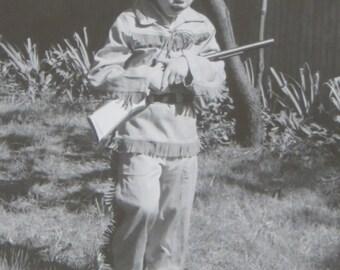 Original 1950's Little Black Child Davy Crockett African American Boy Halloween Snapshot Photograph - Free Shipping