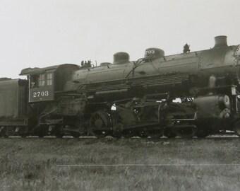 Vintage 1943 Chicago & Northwestern Railway Engine No. 2703 RPPC Real Photo Postcard - Free Shipping