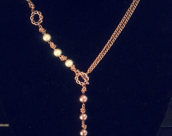 Copper & Pearl Necklace and Earring Set