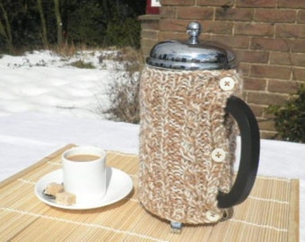 Hand-knitted cable Cafetiere Hugs - choose your favourite blend.