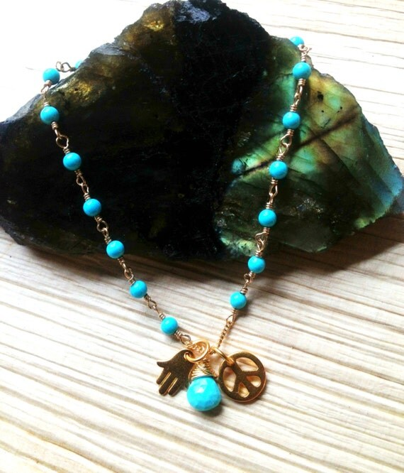 Turquoise Bracelet  Gold Hamsa Charm  Gold Peace Charm   Yoga Bracelet  Sleeping Beauty  Protection  spiritual