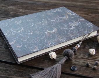 "Hand bound notebook, journal, diary, marbleized journal diary for every day moments: ""Every day's beauty"""