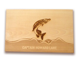 Fishing cutting board Fishing Friends or Couple's Anniversary Gift Housewarming Present Sportsman Gift