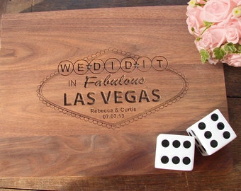 Cutting Board Married in Las Vegas Wedding Present Couple Bridal Shower Gift Anniversary Present