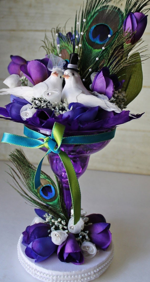 Wedding Cake Topper Peacock Theme Purple Teal Love