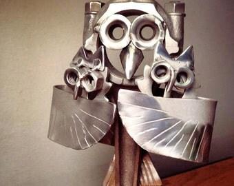 Metal Art Parent and Baby Hoot