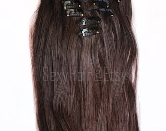 "24"" Medium Brown Hair Extensions (4) Full Head Clip in Extensions, Chocolate Brown Hair Extensions, Extensions, 8 Piece Set, Hair Extension"