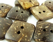 0.2 USD Only - 2-Holes 19mm Coconut Button, Natural Brown, Square, 19 X 19 X 3 mm (Set of 10) - 10000185-010