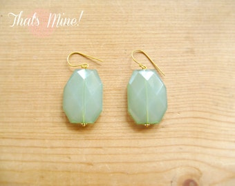 Green Drop earrings, Jade drop earrings, Green statement earrings