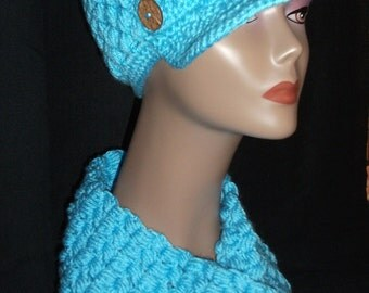 Hand Crocheted Newsboy Beanie w/Brim Hat and Infinity Scarf Set