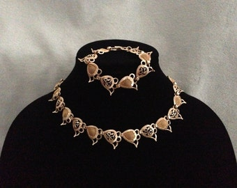 Vintage Gold Collar Choker Necklace with Matching Bracelet