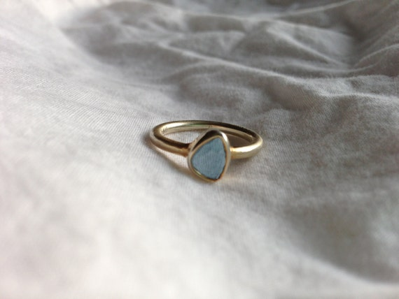 Vintage Sterling Silver Gold Plated Blue Spinel Ring