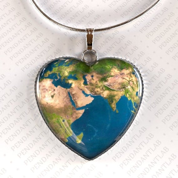 Earth Heart Pendant Earth Necklace World Map Map by PendantLab