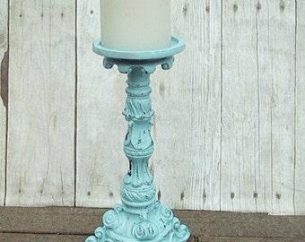 "Ornate Pillar Candle Holder  Wedding Shabby Ornate Hand  Distressed  Aqua 10"""