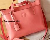Watermelon-red Leather Bag/ Shopping Bag/ iPad Bag/ Shoulder Bag/ Woman Bag/ Handmade Bag