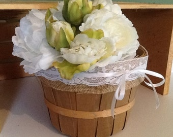 Wedding basket, flower girl basket, rustic basket, shabby chic wedding