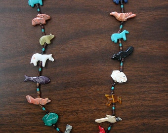 Buffalo Mixed Fetish Necklace with Black Pen Shell
