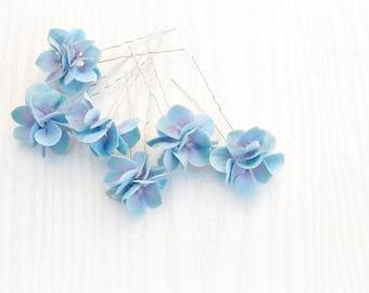SET Hair Pins Blue Hydrangea -  Hair blue flowers - Floral hair accessories - Something Blue -  Hydrangea acessories