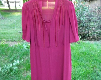 Vintage 1940s XL Maroon Dress