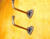 "5.5"" Lot of 2 pcs HOOK Vintage LOVE Antique Wall Mount Hook Coat Hat Hanger Hooks"