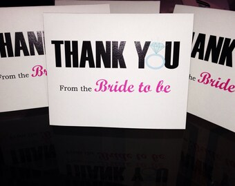 Thank you Card, Bride to be, bridal shower thank you cards, bachelorette thank you cards