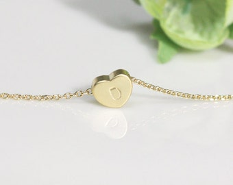 Bridesmaid gifts - Set of 7,8,9,10 - Heart initial necklace in gold, Personalized necklace, gold plating