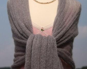 XL Shawl light grey, knitted stole, scarf kid-mohair / silk, felegree, summerly, stripe pattern